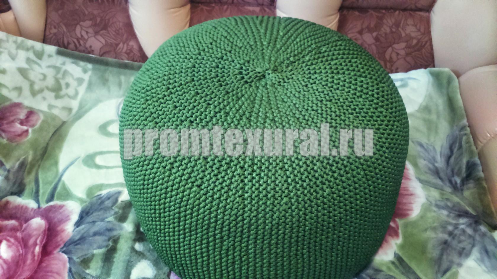 Вязание пуфа из трикотажной пряжи